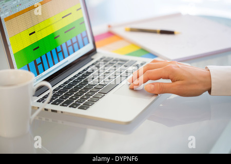 Businesswoman using a laptop in office - Stock Photo