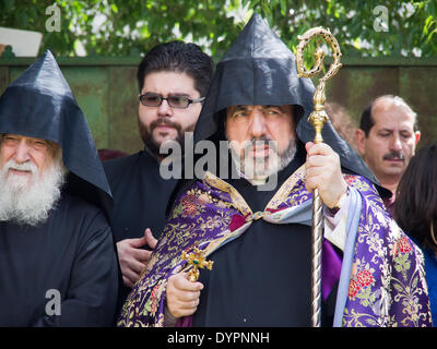 Jerusalem, Israel. 24th Apr, 2014. Armenian Patriarch, Archbishop NOURHAN MANOUGIAN partakes in a ceremony at a - Stock Photo