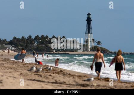 Hillsboro Inlet Lighthouse - Pompano Beach, Florida - Stock Photo