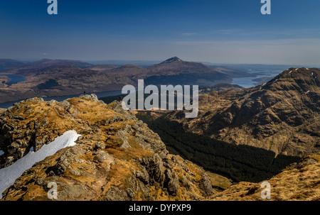 Ben Vane with views overlooking Loch Lomond and Ben Lomond, Scottish Highlands, UK - Stock Photo