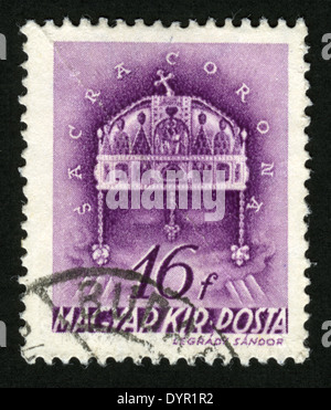 HUNGARY - CIRCA 1939: A stamp printed in Hungary shows Crown of St. Stephen, (Saora Corona),circa 1939 - Stock Photo