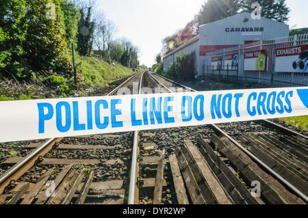 Lurgan, Northern Ireland. 24 Apr 2014 - Police tape closes a railway track  Credit:  Stephen Barnes/Alamy Live News - Stock Photo