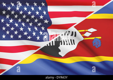 USA and Swazi flag. Part of a series. - Stock Photo
