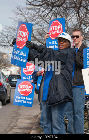 Dearborn, Michigan USA - Members of postal worker unions picket a Staples store to protest the U.S. Postal Service's - Stock Photo