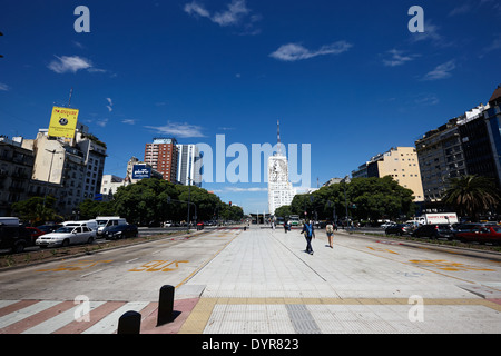 pedestrian area and bus lanes in the middle of avenida 9 de julio Buenos Aires Argentina - Stock Photo