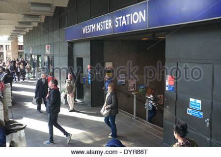 Passenger entrance/exit for Westminster Station, on the London Underground network. London, UK. - Stock Photo
