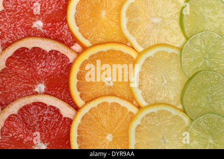 Sliced lemons, oranges, grapefruits and limes forming a background - Stock Photo