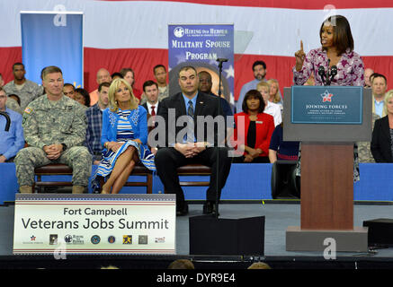 US First lady Michelle Obama speaks to soldiers, family members and employers during a veterans job summit and career - Stock Photo