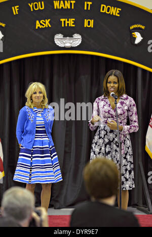 US First Lady Michelle Obama and Dr. Jill Biden wife of Vice President Joe Biden launch of the Online Veterans Employment - Stock Photo