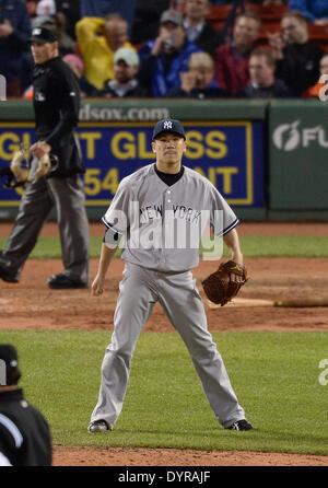 Boston, USA. 22nd Apr, 2014. Masahiro Tanaka (Yankees) MLB : Masahiro Tanaka of the New York Yankees against the - Stock Photo