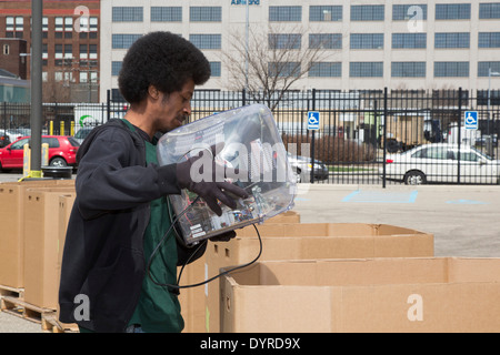 Detroit, Michigan - Old and unwanted electronic items are