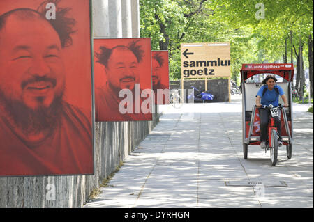 Exhibition posters of Ai Weiwei at the Haus der Kunst in Munich, 2011 - Stock Photo