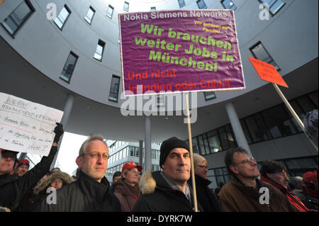 NSN employees demonstrate against the site closure in Munich, 2012 - Stock Photo