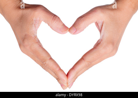 woman hands forming a heart on a white background - Stock Photo