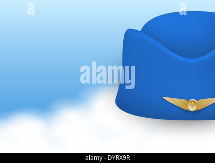 Stewardess hat of air hostess uniform. - Stock Photo