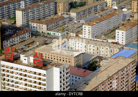 An aerial view of a residential downtown area of Pyongyang - Stock Photo