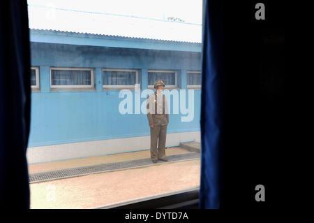 North Korean soldier stands guard