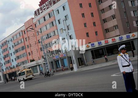 Traffic guard in Pyongyang - Stock Photo