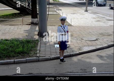 Traffic girl in Pyongyang - Stock Photo