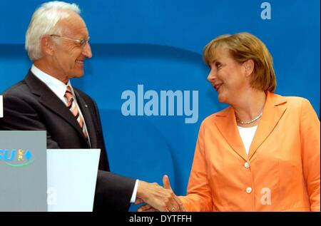 Angela Merkel and Edmund Stoiber at the announcement of Merkel as chancellor candidate of the Union, 2005 - Stock Photo