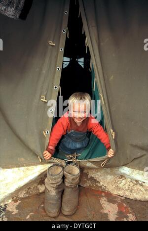 Refugees from Kosovo in Albania (April 1999) - Stock Photo