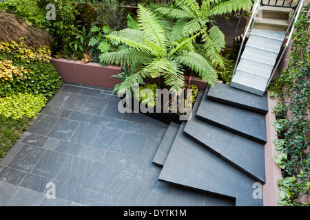 Patio garden at basement level at the Morgan house in Notting Hill London UK designed by Modular Gardens in conjunction - Stock Photo