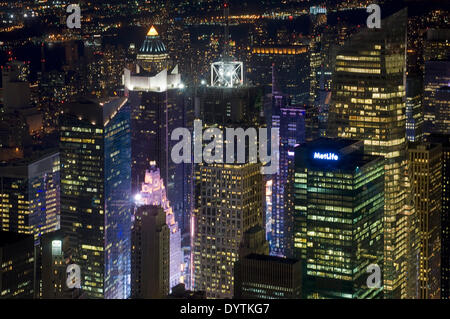 And night aerial views of MetLife Building and other buildings in Lower Midtown . The frenetic activity is due to - Stock Photo