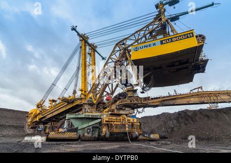 Colossal Bucket-wheel Excavator (BWE) KU 800 Digging Overburden at Open-pit Lignite Coal Mine, North Bohemia, Czech - Stock Photo