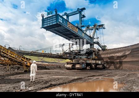 Colossal Bucket-wheel Excavator (BWE) KU 300 Digging Lignite at Vršany Open-pit Coal Mine, Northern Bohemia, Czech - Stock Photo