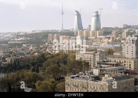 Panorama with Flame Towers, Baku - Stock Photo