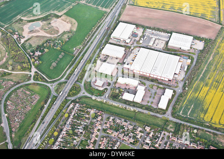 Aerial view of a group of warehouses in Cambridgeshire, UK - Stock Photo