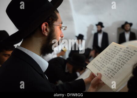 Ultra-Orthodox Jews pray inside the tomb of Nun, the father of the Biblical Israelite spy and leader Jehoshua Bin - Stock Photo