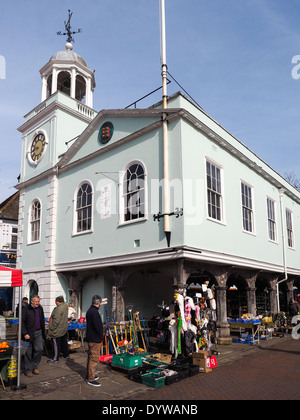 FAVERSHAM, KENT/UK - MARCH 29 : View of street market and Town Hall in Faversham Kent on March 29, 2014. Unidentified - Stock Photo