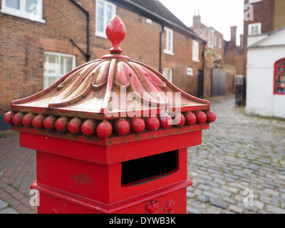 FAVERSHAM, KENT/UK - MARCH 29 : View of old square post box in Faversham Kent on March 29, 2014 - Stock Photo