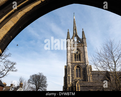 FAVERSHAM, KENT/UK - MARCH 29 : View of St Mary of Charity Church in Faversham Kent on March 29, 2014 - Stock Photo