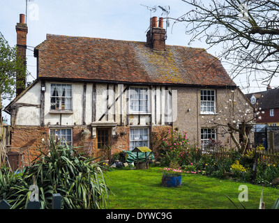 FAVERSHAM, KENT/UK - MARCH 29 : View of an old cottage in Faversham Kent on March 29, 2014 - Stock Photo