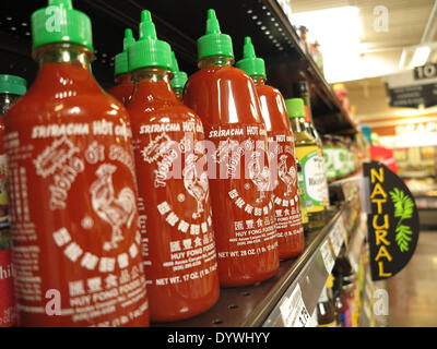 Aliso Viejo, California, USA. 25th Apr, 2014. Sriracha hot sauce on sale in a California supermarket. Huy Fong Foods - Stock Photo