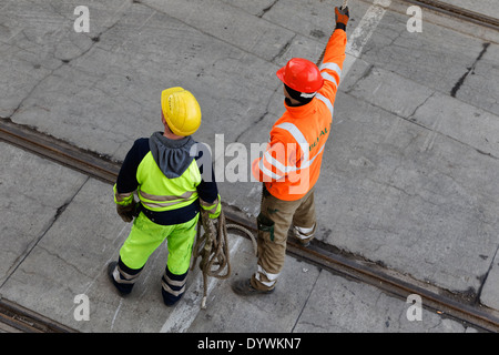 Berlin, Germany, port workers in Berlin West Harbour - Stock Photo