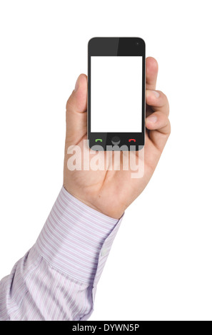 men's hand holding a modern mobile phone with a blank screen. isolated on white. - Stock Photo