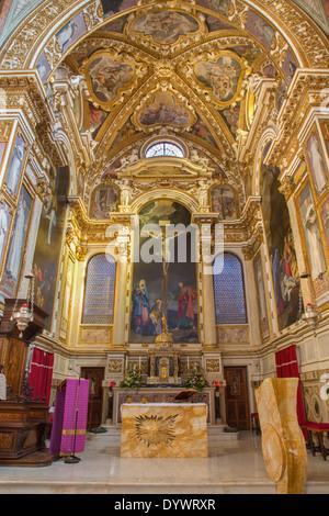 BOLOGNA, ITALY - MARCH 17, 2014: Presbytery of baroque church San Michele in Bosco. - Stock Photo