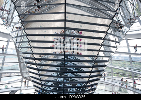 Germany, Berlin, Bundestag, German Parliament Building, Reichstag Dome by Norman Foster Architect - Stock Photo
