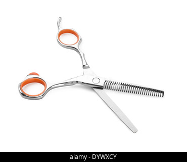 Thinning scissors on a white background - Stock Photo
