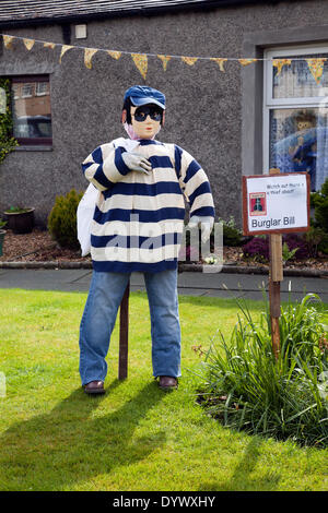 Wray, Lancaster, UK 26th April, 2014.  'Burglar Bill' Masked burglar, thief, crime, criminal stealing, man, robber, - Stock Photo
