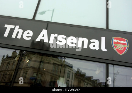 7703aab0ac0 ... Sign on Arsenal FC supporters' shop, Finsbury Park, North London -  Stock Photo