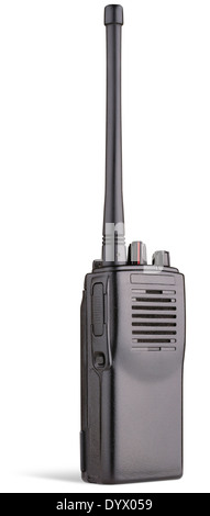 two-way radio on white background clipping path - Stock Photo