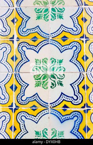 Lisbon, Portugal. Detail of typical Portuguese ceramic tiles. - Stock Photo