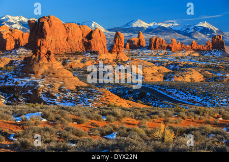 Winter scenery in Arches National Park, near Moab, Utah - USA - Stock Photo