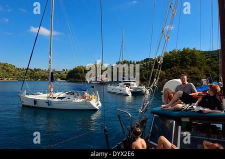 Tourists on deck of a yacht sailing near the island Lefkas. MS Christina Cruises in Ionian Sea, Lefkas, Ionian Islands, - Stock Photo