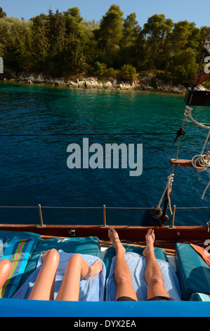 Couple on deck of yacht sailing near the island Lefkas. MS Christina Cruises in Ionian Sea, Lefkas, Ionian Islands, - Stock Photo