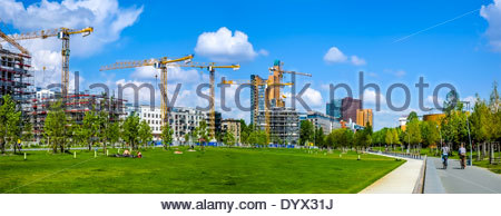 Berlin, Germany - Apartment Buildings Construction near Potsdamer Platz skyline - April 26, 2014 - Stock Photo